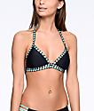Trillium Black & Mint Crush Macrame Triangle Bikini Top