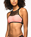Trillium Highneck Coral & Black Fishnet Bikini Top