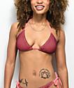 Trillium Honey Comb top de bikini de triangulo borgoño y rosa
