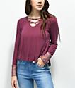 Trillium Maura Crisscross camiseta de encaje en color borgoño