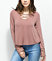 Trillium Maura Crisscross camiseta de encaje en color malva