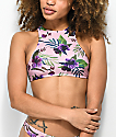 Trillium Sweet Dreams Palm Pink High Neck Bikini Top