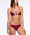 Trillium bottom de bikini con lengüetas laterales en color vino