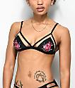 Trillium top de bikini de triangulo  de malla negra con rosas