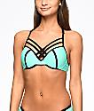 Trillium top de bikini moldeado con espalda T en color menta