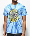 Trippy Burger Skull Burger Blue Tie Dye T-Shirt