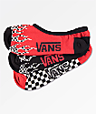 Vans 3 Pack Flame Checkerboard No Show Socks