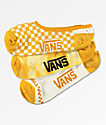 Vans 3 Pack Yellow Check No Show Socks