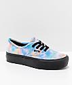Vans Authentic 2.0 zapatos de skate con plataforma de tercio pelo con efecto tie dye