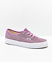 Vans Authentic Glitter Pink & White Skate Shoes