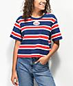 Vans Boxy Crop Red, White & Blue Striped Crop T-Shirt