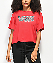 Vans Boxy Mix Checkerboard Red Crop T-Shirt