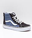 Vans Boys Sk8-Hi Zippered Black & Indigo Skate Shoes