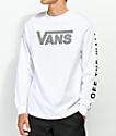 Vans Checkerboard Drop V White Long Sleeve T-Shirt