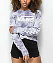Vans Checkerboard Sea Fog Cloud Wash Crop Long Sleeve T-Shirt