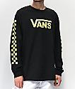 Vans Checkerboard Vee Black & Green Long Sleeve T-Shirt
