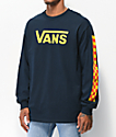 Vans Checkerboard Vee Navy & Orange Long Sleeve T-Shirt