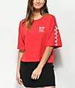 Vans Checkerboard camiseta corta en rojo y blanco