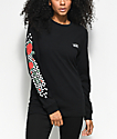 Vans Checkered Rose Black Long Sleeve T-Shirt