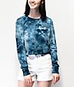 Vans Circle V Blue Long Sleeve Tie Dye Crop T-Shirt