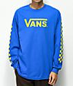 Vans Classic Checkerboard camiseta de manga larga azul y amarilla