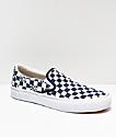 Vans Independent Slip-On zapatos de skate azules y blancos de cuadros
