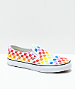 Vans Kids Slip-On Rainbow Checkerboard Skate Shoes