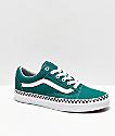 Vans Old Skool Checkerboard Foxing Quetzal Green Skate Shoes