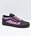 Vans Old Skool Sparkle Flame zapatos de skate en negro y rosa