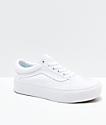 Vans Old Skool True White Platform Skate Shoes