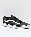Vans Old Skool Tumble Black & White Leather Skate Shoes