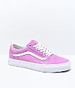 Vans Old Skool Violet & White Pig Suede Skate Shoes
