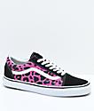 Vans Old Skool zapatos de skate de leopardo rosa y negro