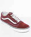 Vans Old Skool zapatos de skate en blanco y marrón rojo