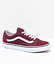 Vans Old Skool zapatos de skate en color borgoño y blanco