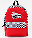 Vans Realm Racing Red & Checkerboard Flame Backpack