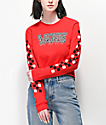 Vans Red Mix Checkerboard Long Sleeve Crop T-Shirt