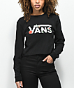 Vans Rose Checker camiseta corta de manga larga negra