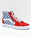 Vans Sk8-Hi BMX Checkerboard Blue, Red & White Skate Shoe