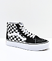 Vans Sk8-Hi Black & White Checkerboard Platform Shoes