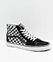Vans Sk8-Hi Blur Black & White Checkerboard Skate Shoes