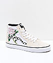 Vans Sk8-Hi Checker Floral Turtle Dove & White Skate Shoes