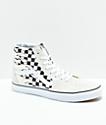 Vans Sk8-Hi Checkerboard Flame zapatos de skate en blanco
