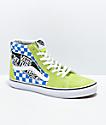 Vans Sk8-Hi Logo Patch Green & Blue Checkered Skate Shoes