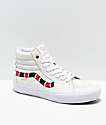 Vans Sk8-Hi Pro Coral Snake & White Leather Skate Shoes