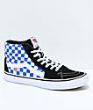 Vans Sk8-Hi Pro zapatos de skate a cuadros en azul, negro y blanco