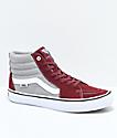 Vans Sk8-Hi Pro zapatos de skate en color borgoño, gris y blanco