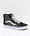 Vans Sk8-Hi Zippered Black, Charcoal & White Skate Shoes