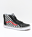 Vans Sk8-Hi Zippered Black & Red Checkerboard Skate Shoes
