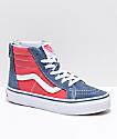 Vans Sk8-Hi zapatos de skate con cremallera en azul y rojo
